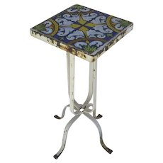Vintage Italian Table with Hand Painted Tile Top and Iron Base