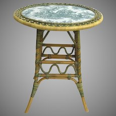 "Vintage ""Un Jardin en Plus"" Rattan Table with Green Toile Top"