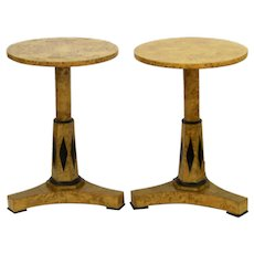 Pair of Vintage Deco Birch and Ebonized Details Pedestal Side Tables