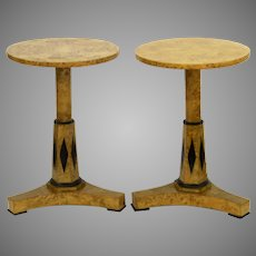Pair of Vintage Deco Birch and Ebonized Details Pedestal Side Tables