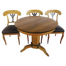 Table and Three Biedermeier Chairs 19th Century
