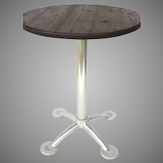 VINTAGE Aluminum Pedestal Based Bistro Table with Wood Top