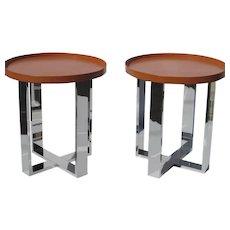 "Pair of Custom Made 24"" Round Gallery Trays"