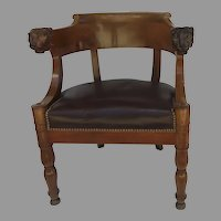 French Empire Mahogany Desk Chair with Lion Head Armrests c 1820