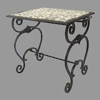 1930's Polychrome Iron Garden Table with Tile Top