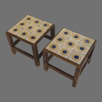 Vintage Pair Mexican Low Square Side Tables Flower Motif