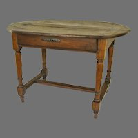 French Oval Top One Drawer Table with H Shaped Stretchers