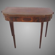 American Hepplewhite Period Fold Over Flip Top Game Table c1800