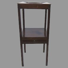 English Mahogany Washstand c 1800 One Drawer Side Table