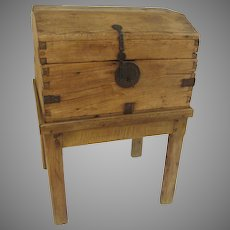 Pine Spanish Colonial Chest Trunk on Stand Iron Hardware Key 18th Century