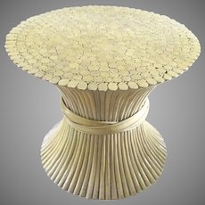 Vintage McGuire Rattan Bamboo Wheat Sheaf Table
