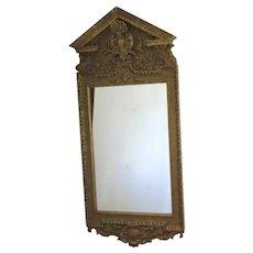 Large Gilt Georgian Style Mirror with Pediment c 1890