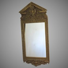 Large Gilt Georgian Style Mirror with Pediment c 1890