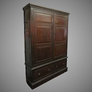 English Large Faux Grain Cupboard Two Door Two Drawers Housekeeper