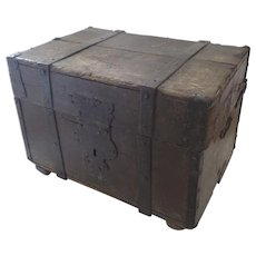 Wonderful Old Late18th Early 19th Century Metal Bound Trunk Shaped Hasp Traces of old Paint Small Coffee Table