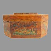 20th century Octagonal Judiaca Etrog Olive Wood Box