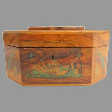20th century Octagonal Judiaca Etrog Olive Wood Box