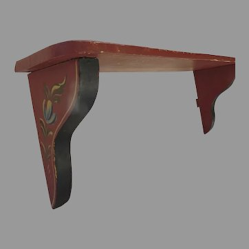 Vintage Hand Painted Wall Shelf Red Rosemaling Country