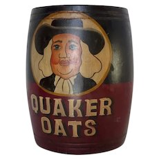 Hand Painted Vintage Quaker Oats Wooden Barrel Bin Utensil