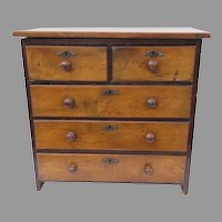 19th Century Miniature Chest of Drawers Walnut Turned Knobs