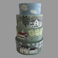 Vintage set of Four Nesting Hand Painted Signed Pantry Boxes