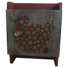 Vintage Hand Painted Folk Art Hanging Cabinet Spice Chicken Hen Egg Motif