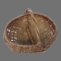 Vintage Hand Woven Wood Splint Market Basket with Bentwood Handle Buttocks