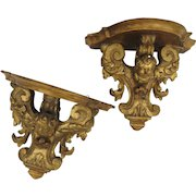 Pair of 19th Century Italian Italy Carved Gilt Wall Brackets Putti Cherub Angels