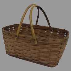 Vintage Oak Slat Market Basket with Swing Handles