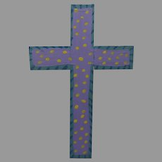 Painted Spanish Painted Folk Art Cross by Steven Sanchez Signed