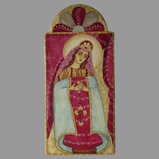 Hand Painted Virgin Mary with Rosary La Conquistadora (Our Lady of Peace) Signed Teresa May Duran Retablos