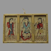 Three Saints Hand Painted and Signed Retablos by Margarita Mondragon Saint Rafael, Gabriel and Miguel