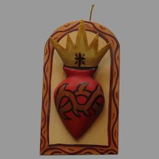 """Three Dimensional """"Sacred Heart"""" Carved Heart and Crown with Cross and Spines Wooden Retablos by  Jerome Lujan (20th Century)"""