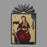 Saint Catherine Of Alexandria Hand Painted Retablos  Woman with Sword Signed David Nabor Lucero