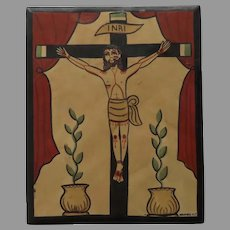 Hand Carved and Painted Jesus Crucifix Signed and Dated '97