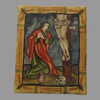Hand Carved and Hand Painted Water Color Santa Maria Madalena Crucifix Signed