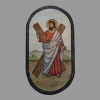 Saint Andrew Apostle Hand Carved and Hand Painted Religious Retablos by Don Leon Sandoval