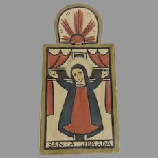 Santa Liberada Retablo of the Virgin Mary Crucifix Hand Painted and Carved Signed Religious by John Marquez