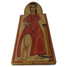 Christ at the Column Retablo Hand Painted and Carved Signed in year 2009 Wall Hang Slanted Wood