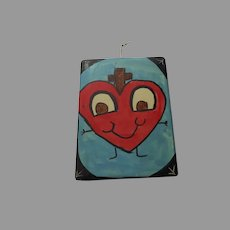 Sacred Heart Kid Representation Friendly Heart Face and Arms Blue Signed Religious