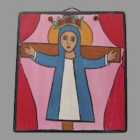Hand Painted Art Signed Santa Liberada ( Liberated Saint) Rose Crown Cross Dated July 1992