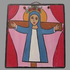 Hand Painted Art Signed Santa Liberada ( Liberated Saint) Rose Crown Cross Dated July 1992