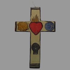 Sacred Heart of Jesus Cross with Sun and Moon Skull and Fired Heart  Signed Religious