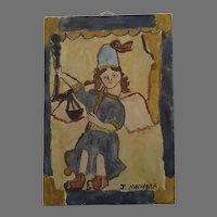 Water Color of Saint Michael Archangel Hand Painted Piece Signed by J. Montoya Religious Folk Art