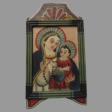 Hand Painted Signed Mexican Retablos James M. Cordova La Virgen Maria con el Niño Jesus