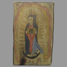 Virgin Mary with Crown and Accordion Hand Painted and Hand Carved