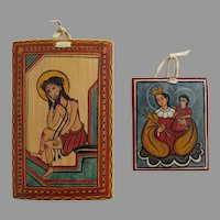 2 Hand Painted Detailed Retablo Pieces Signed and made by Gabriel Vigil Year 2000 and 1997