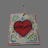 Miniature Painting of the Sacred Heart Signed Macaila Armijo Mentor Jose Armijo