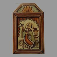 Painted and Carved Retablo of San Juan Nepomuceno  Signed and Dated Year 2007 Nicolas Otero
