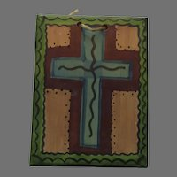 Small Retablos Painting of a Cross Blue with Purple Pink and Green